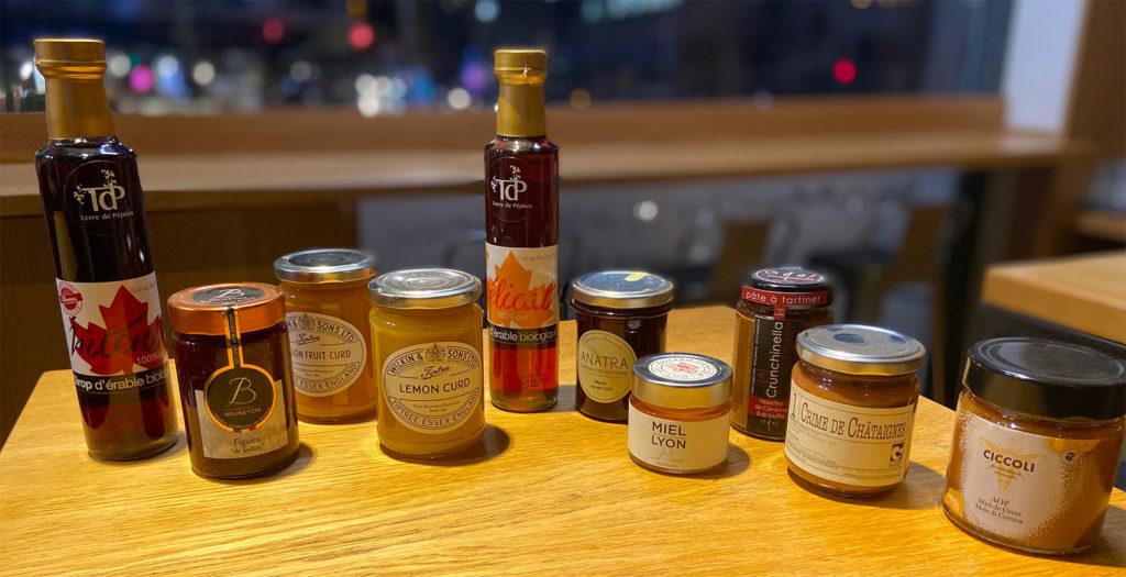 Produits d'épicerie pour accompagner les crêpes