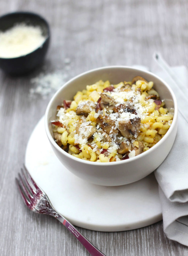 Menu risotto de coquillettes aux champignons